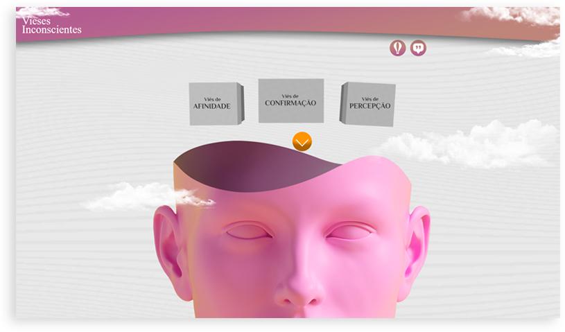 Menu do curso de Viéses Insconscientes, com uma imagem de um cabeça de manequim aberta de ontem saem alguns tópicos do curso