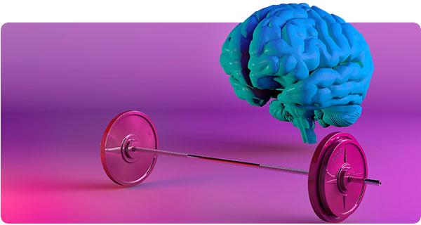 Um cérebro fazendo musculação