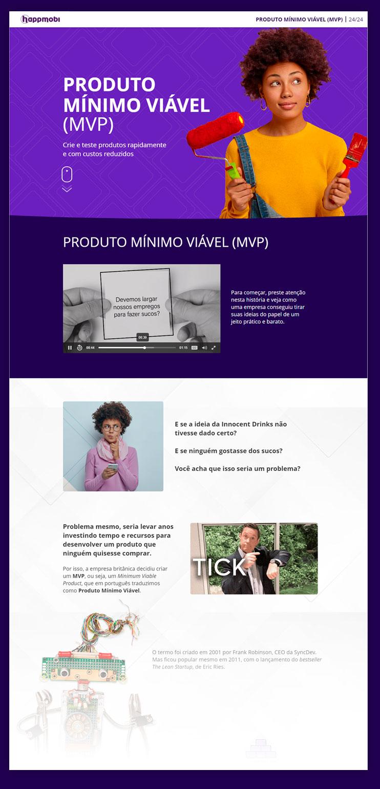 one page do curso mvp da happmobi